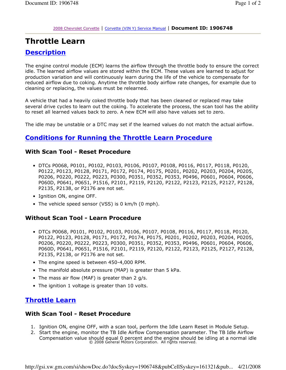Lingenfelter C6 Corvette Throttle Learn User Manual | 2 pages