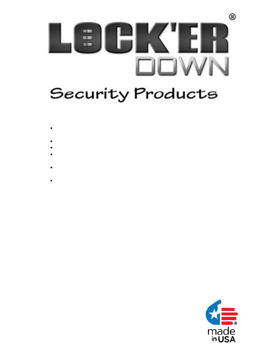 Locker Down Model Ld 2043 User Manual 1 Page