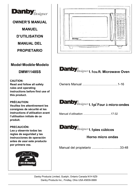 Danby dmw1148ss user manual | 52 pages | original mode.