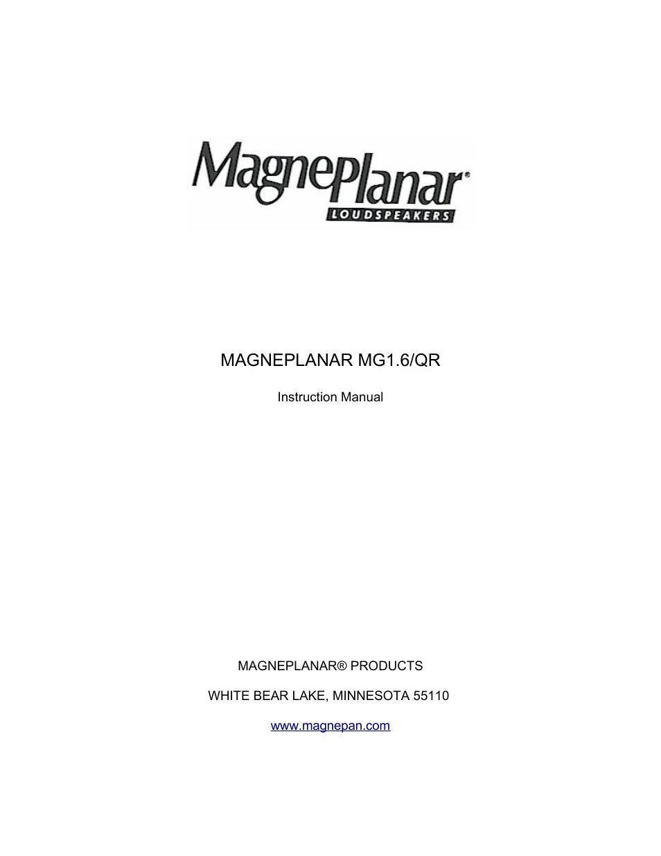 magnepan mg 1 6 user manual 9 pages rh manualsdir com Magnepan 1.7 Magnepan 1.6Qr Speakers