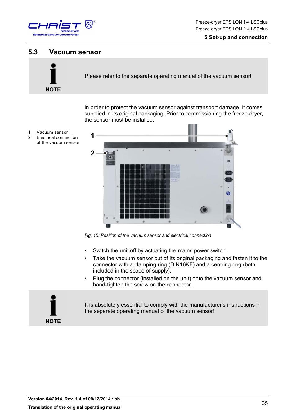 3 vacuum sensor | Martin Christ Epsilon 2-4 LSCplus User