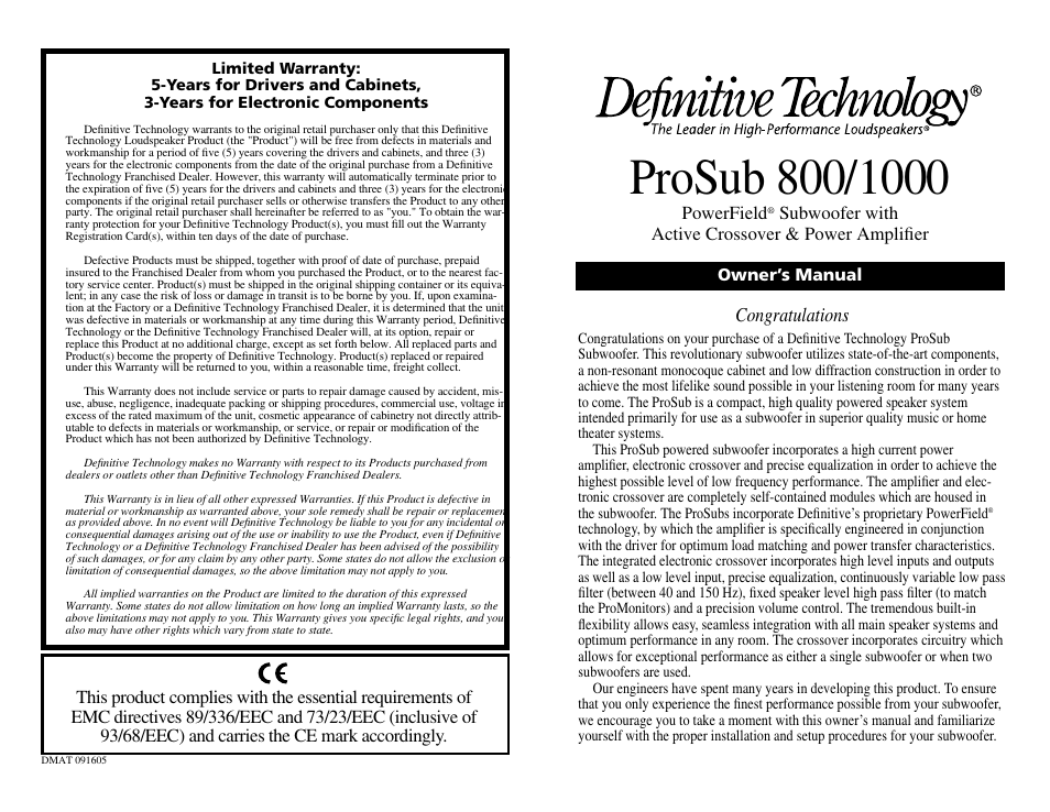 definitive technology prosub 800 1000 user manual 12 pages rh manualsdir com Definitive ProSub 1000 Definitive ProSub 800 Review
