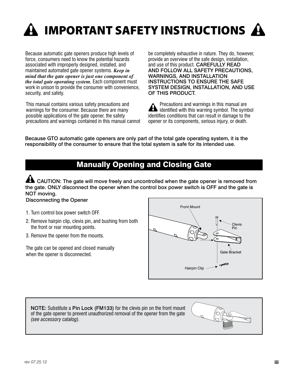 Important Safety Instructions Manually Opening And Closing Gate Turn Off Switch Mighty Mule Fm200 User Manual Page 5 36