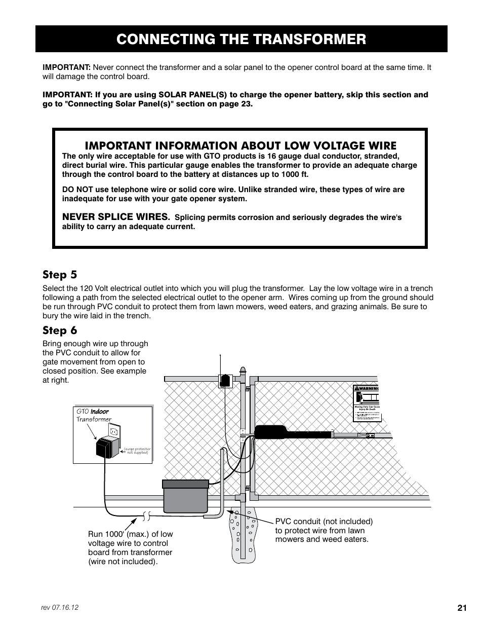 Connecting the transformer, Step 5, Step 6   Mighty Mule FM350 User Manual    Page 25 / 44