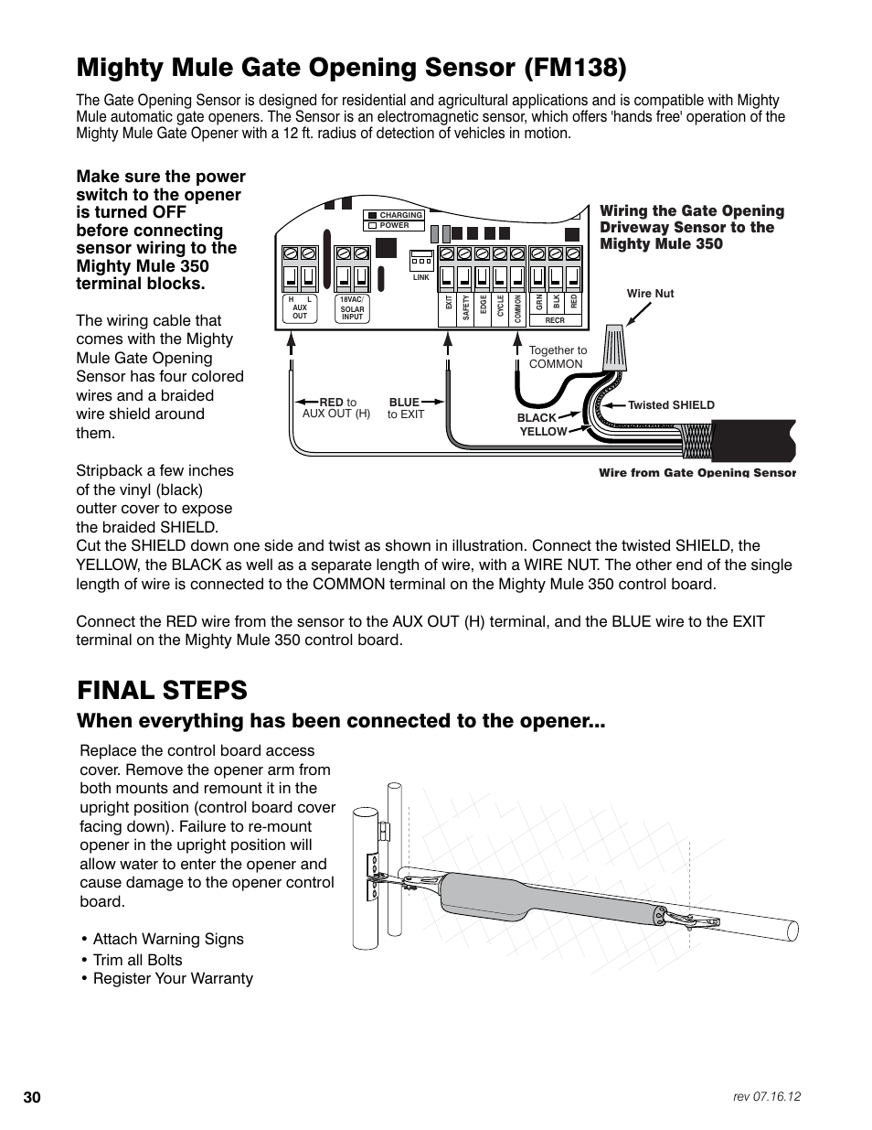 final steps, mighty mule gate opening sensor (fm138), when everything has  been connected to the opener | mighty mule fm350 user manual | page 34 / 44  manuals directory