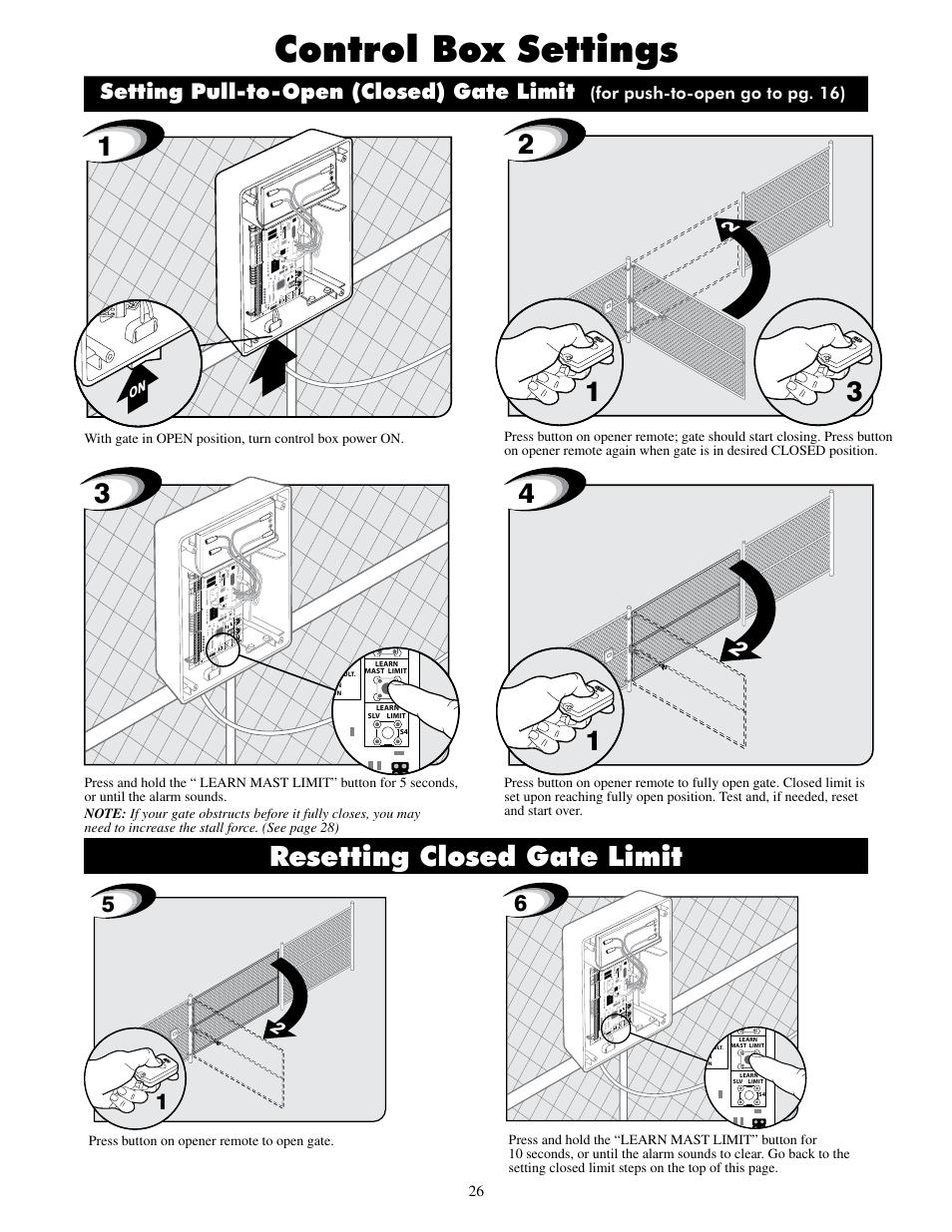 Control box settings, Resetting closed gate limit, Setting
