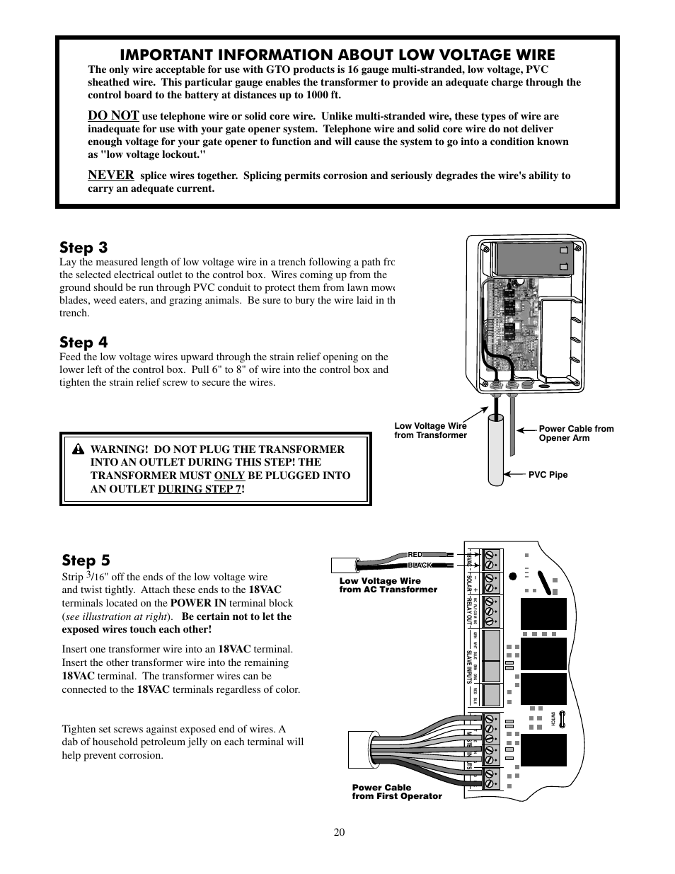 Step 3 4 Important Information About Low Voltage Wire 24 Volt Wiring Plug And Receptacle Mighty Mule Fm500 Green Board User Manual Page 42