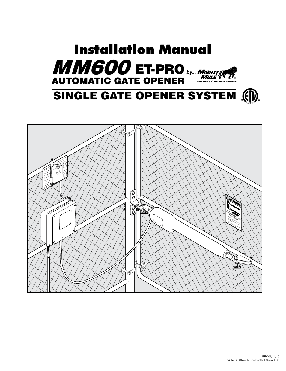Mighty Mule Mm600et Pro User Manual 42 Pages