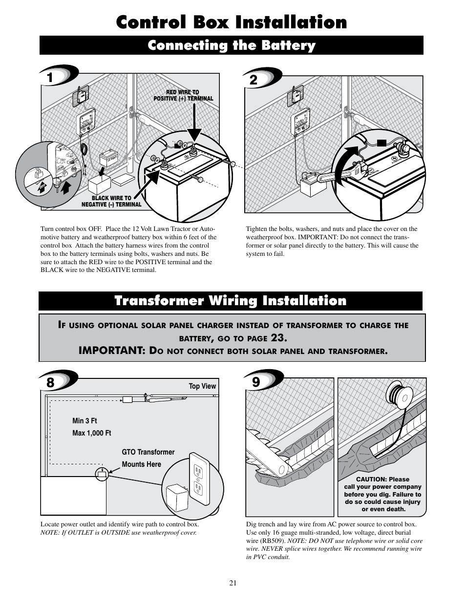 Control Box Installation Transformer Wiring Diagram Battery Charger Connecting The Mighty Mule Mm600et Pro User Manual Page 24 42