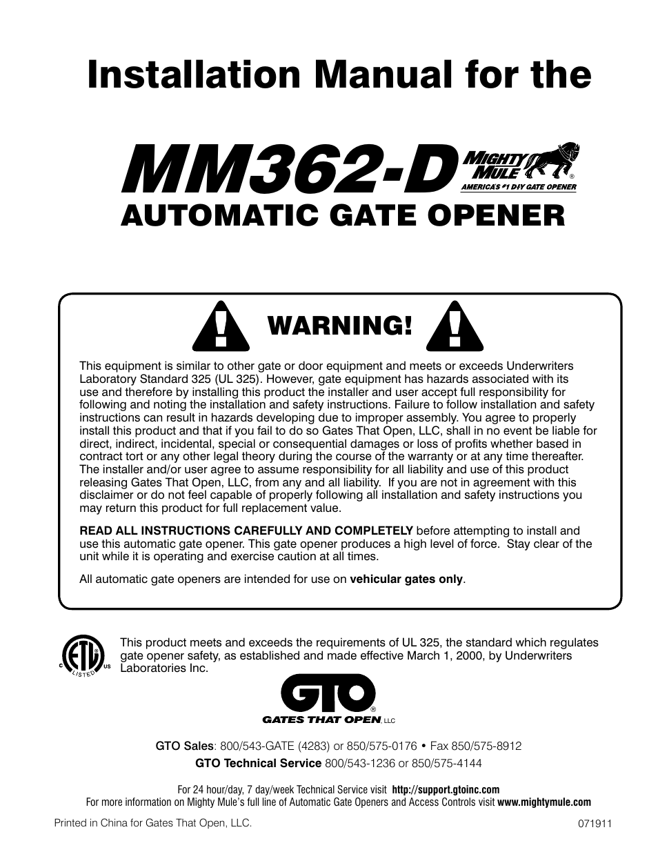 Mighty Mule Mm362 D User Manual 36 Pages Wiring Diagram