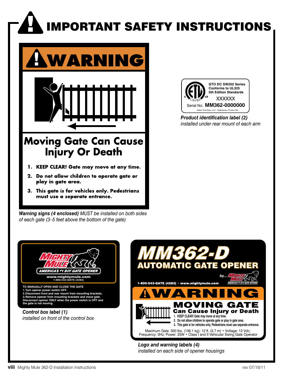 Mm362 D Important Safety Instructions Automatic Gate