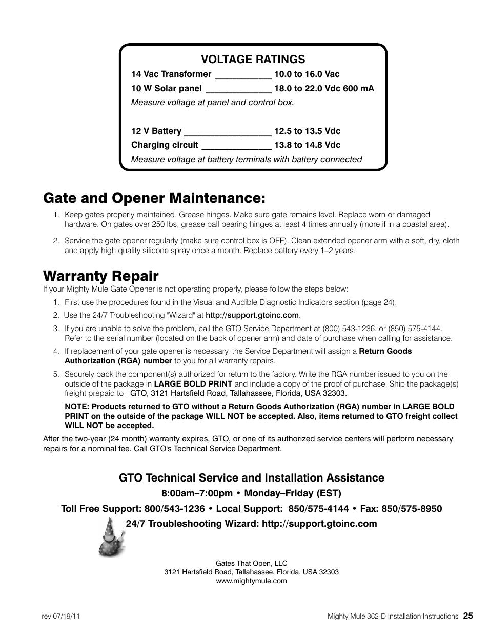 Gate And Opener Maintenance Warranty Repair Voltage