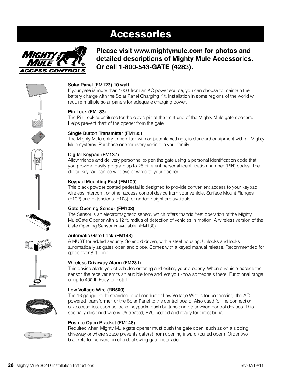 Accessories Mighty Mule Mm362 D User Manual Page 36 36