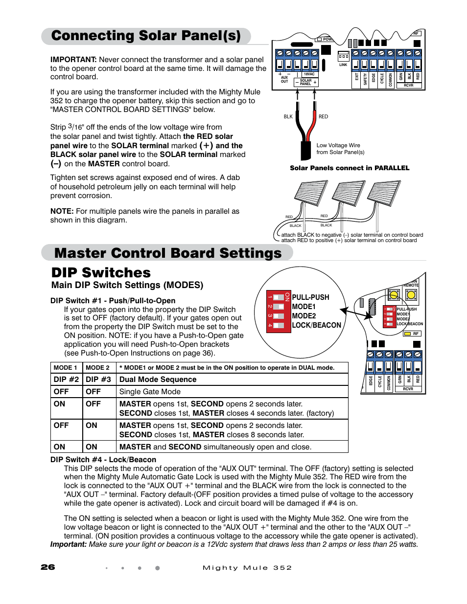 Dip Switches Main Dip Switch Settings Modes Pull Push