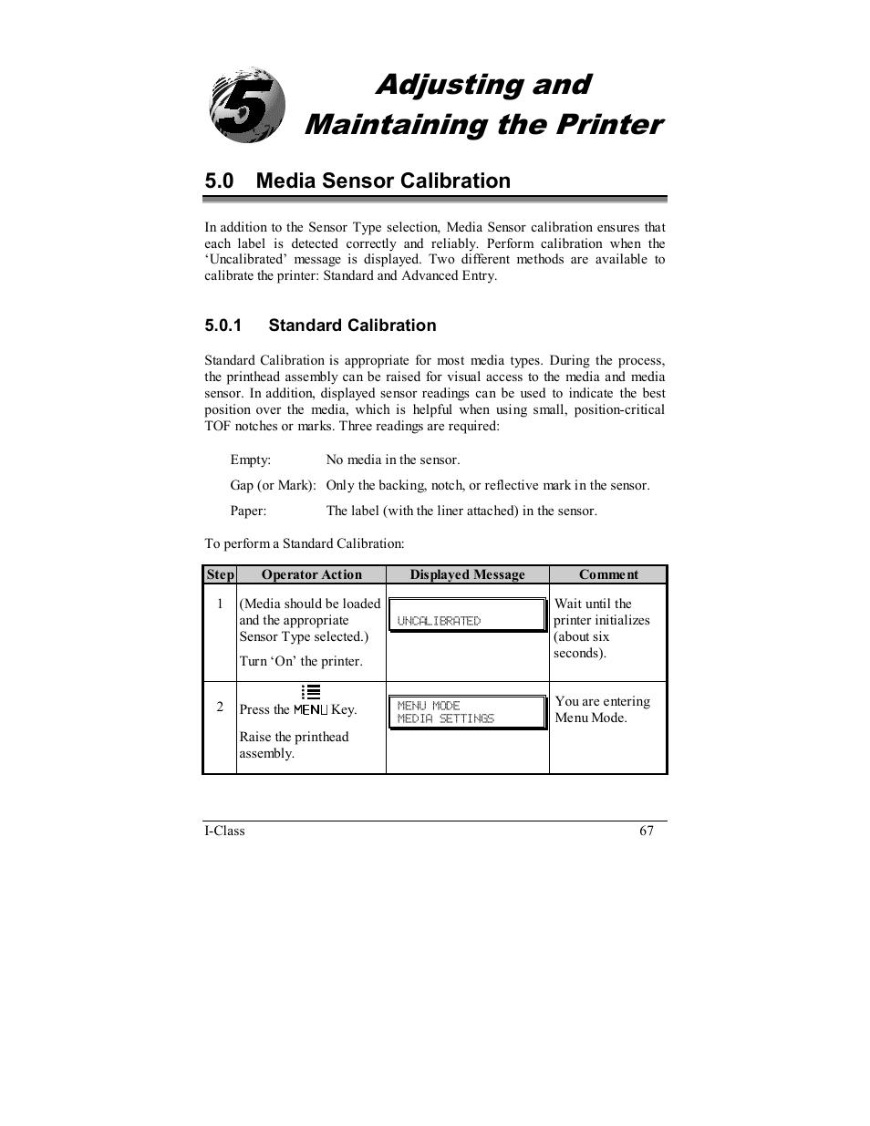 Adjusting and maintaining the printer, 0 media sensor calibration   Datamax  I-4208 User