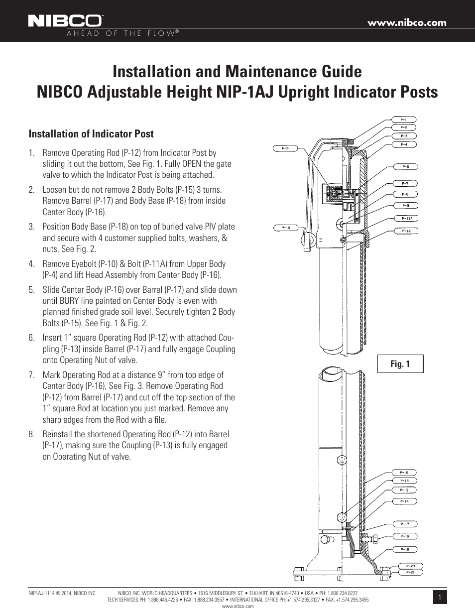 NIBCO NIP-1AJ Indicator User Manual | 4 pages on