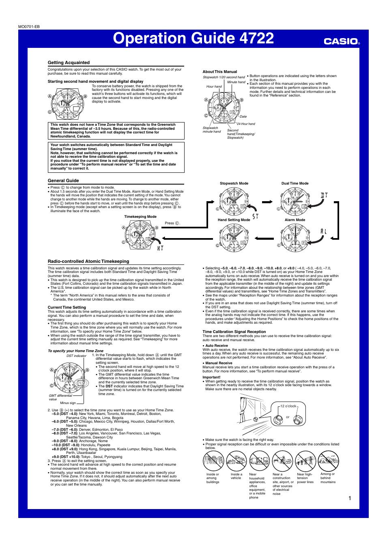 casio operation guide 4722 user manual 4 pages casio illuminator watch instructions manual Casio Illuminator Time Setting