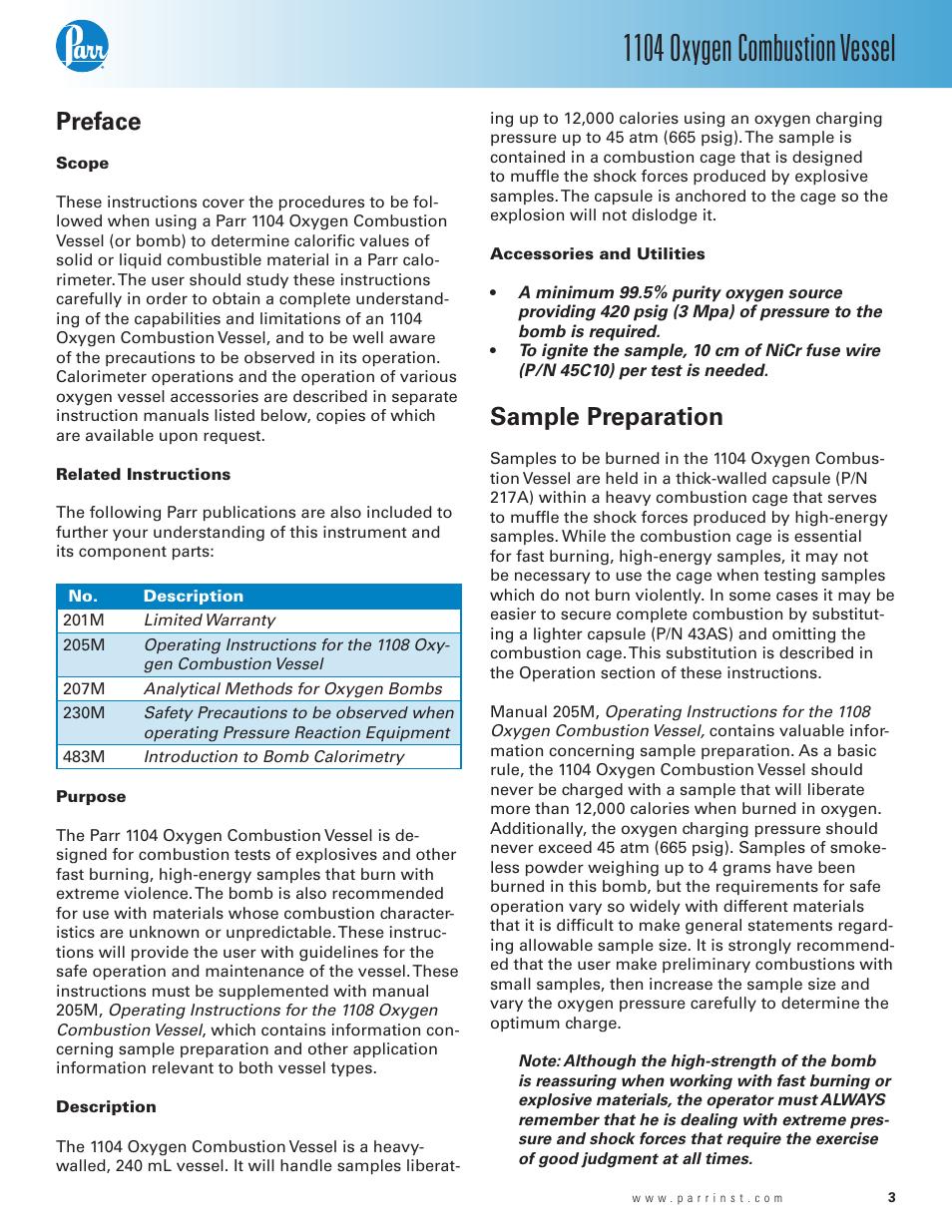 preface sample preparation 1104 oxygen combustion vessel parr rh manualsdir com