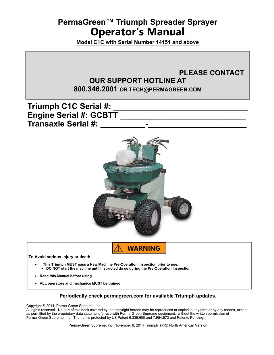 PermaGreen Triumph Spread-Only User Manual | 44 pages | Also for: Triumph  Spreader Sprayer