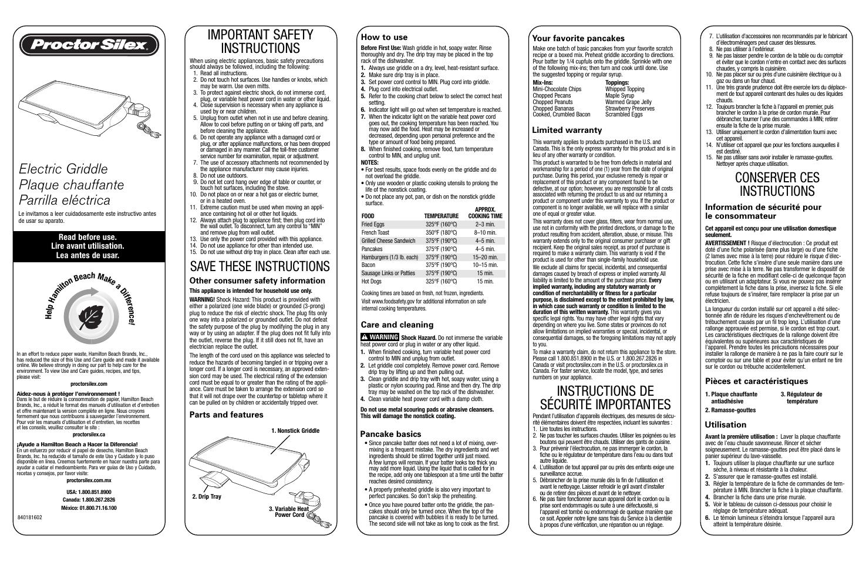 proctor silex nonstick electric griddle 38513p user manual 2 pages rh manualsdir com proctor silex slow cooker manual proctor silex waffle maker manual