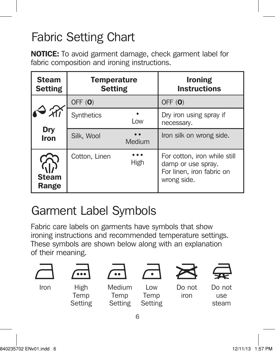 Fabric Setting Chart Garment Label Symbols Proctor Silex Iron