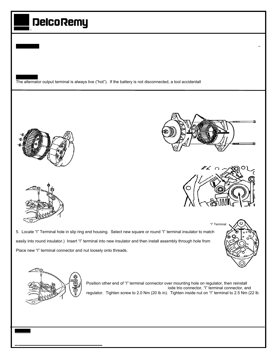 Remy 22si I Terminal Retrofit Kit 10511625 User Manual 2 Pages Delco Alternator Wiring Diagram Also For 21si