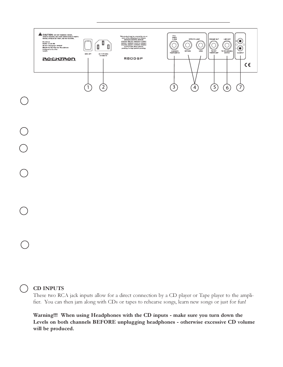 Back Panel Rocktron Rampage R80 Dsp User Manual Page 5 8 1 4 Jack Wiring For Footswitch