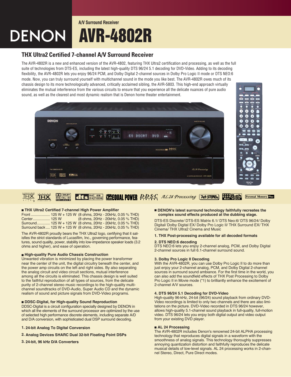 denon avr 4802r user manual 2 pages rh manualsdir com AV Receiver Denon 4802R denon avr 4802 service manual