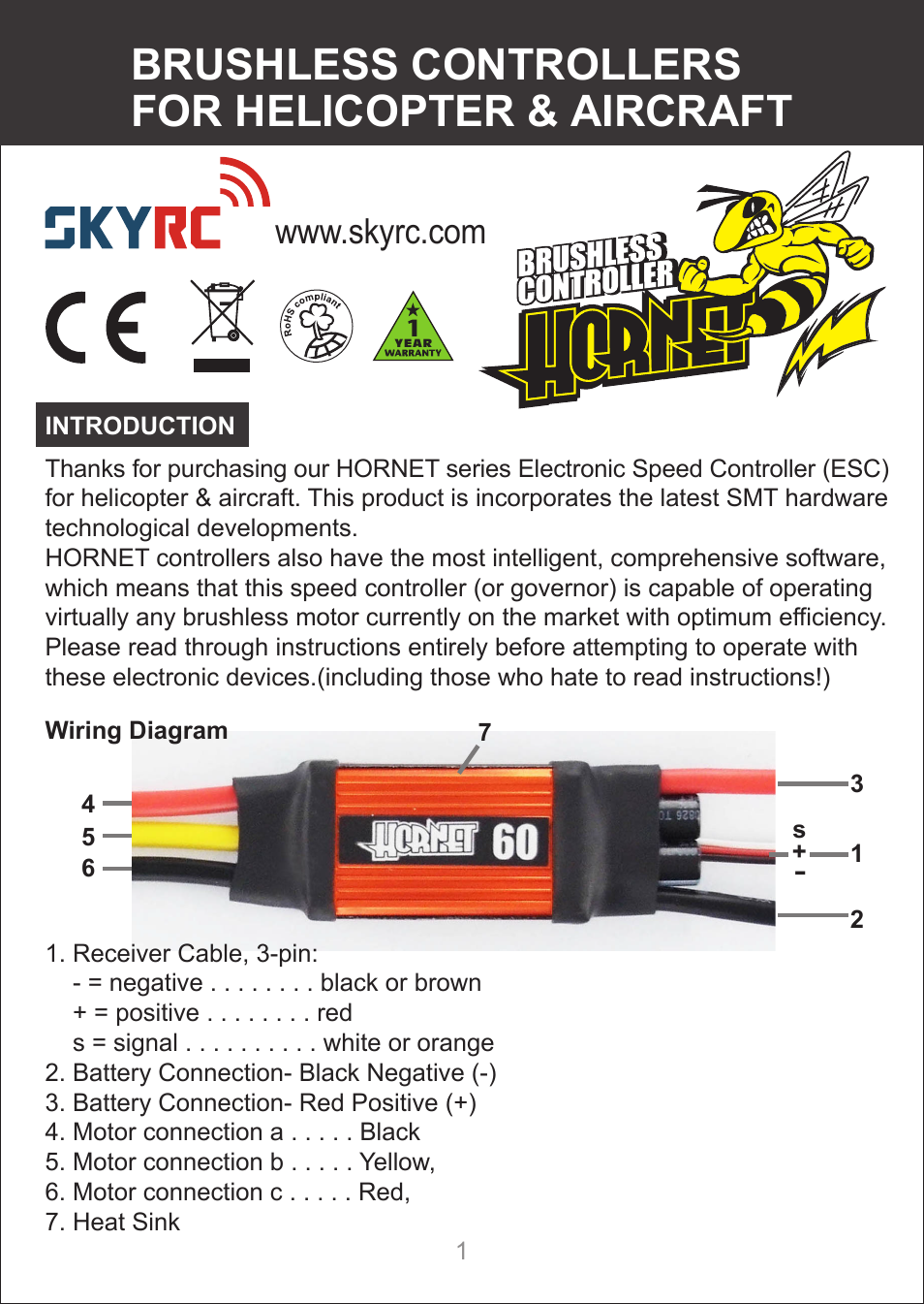 Skyrc Hornet 60a Esc For Air User Manual 10 Pages Also Wire Diagram 80a