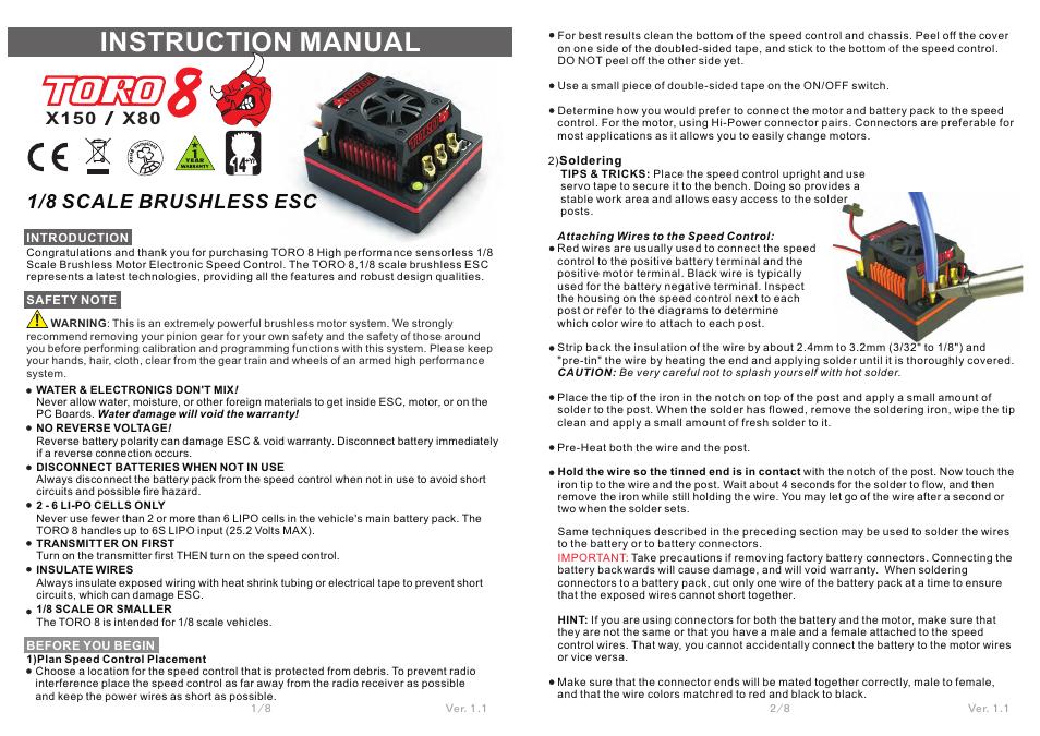 SkyRC Toro 8 X150 150A ESC for 1/8 Car User Manual | 4 pages | Also ...