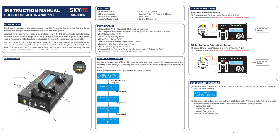 SkyRC BL Motor Analyzer User Manual | 2 pages
