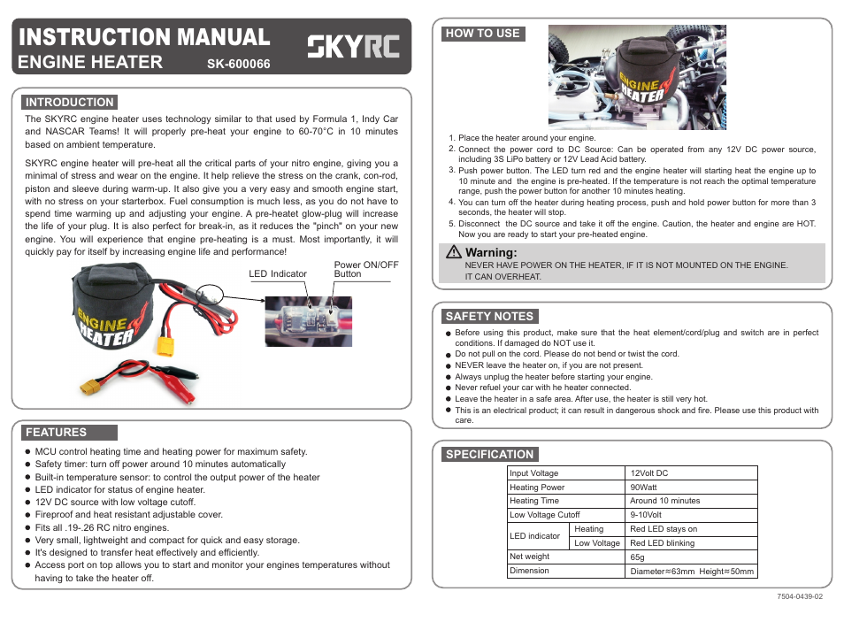 SkyRC Engine Heater User Manual | 1 page
