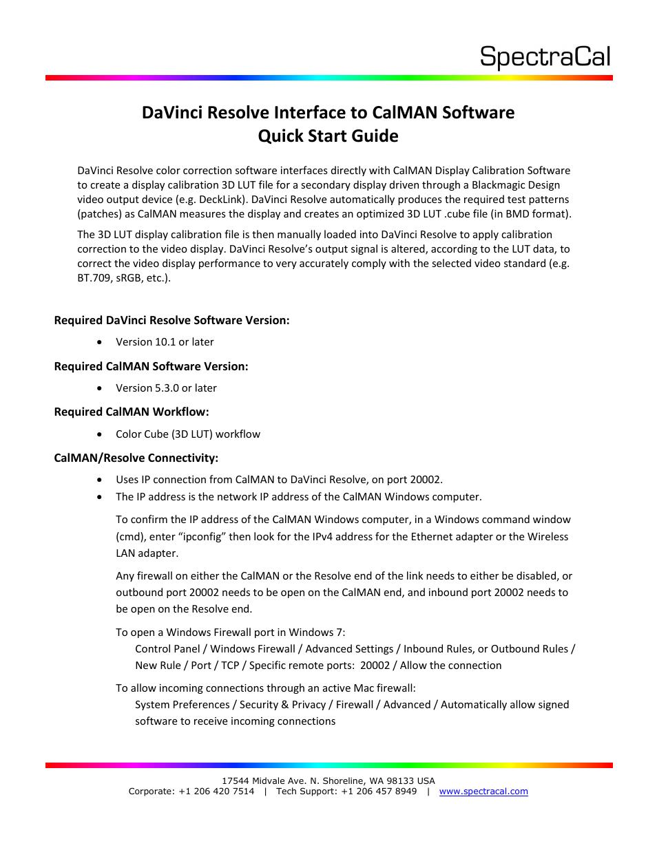 SpectraCal Blackmagic Design DaVinci Resolve User Manual