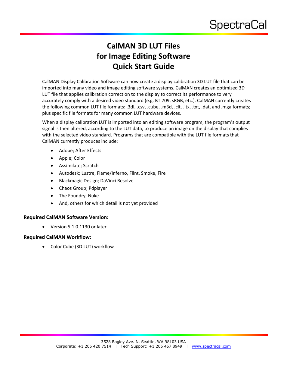 SpectraCal CalMAN 3D LUT Software Files User Manual | 7 pages