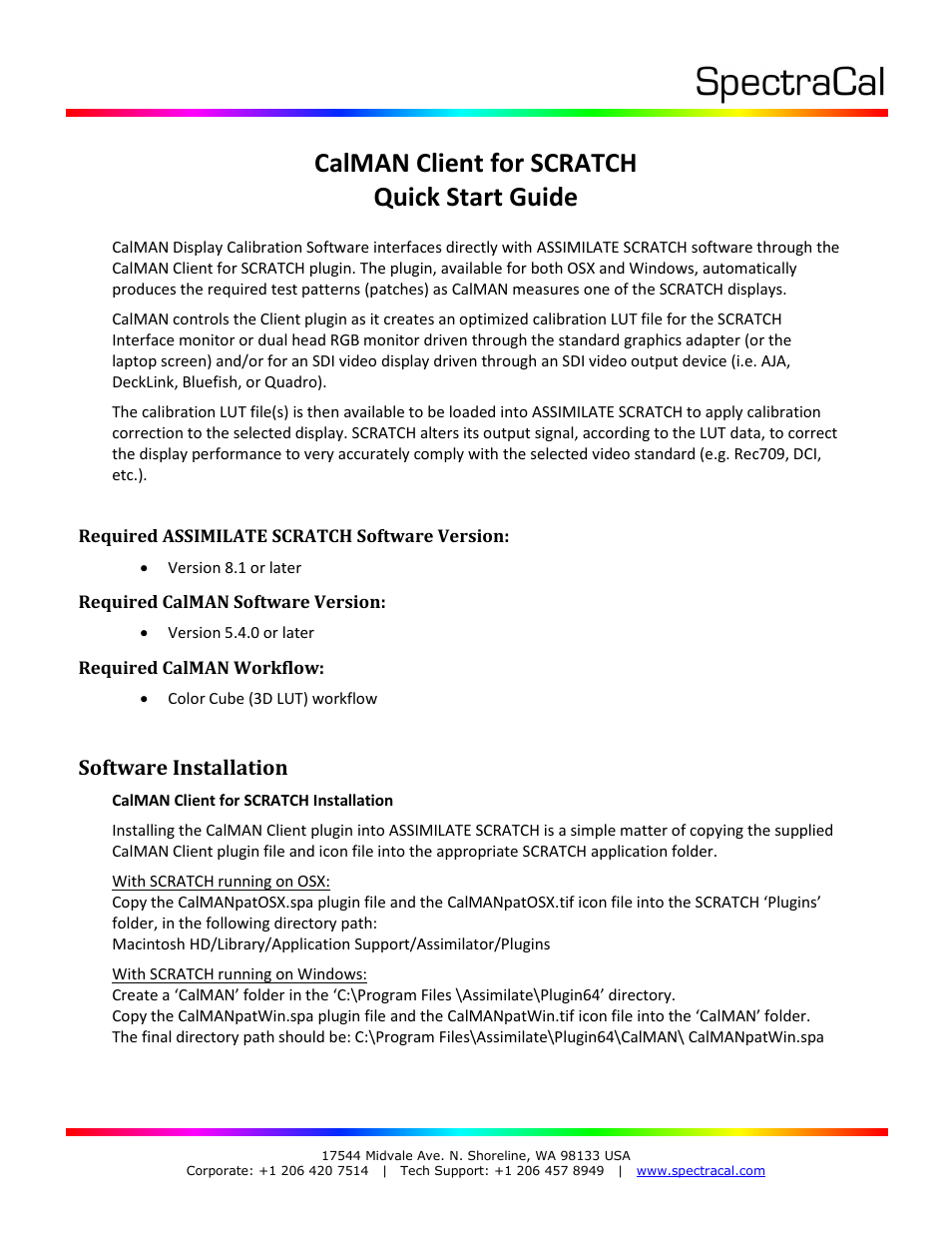 SpectraCal CalMAN for SCRATCH Plug-In User Manual | 14 pages