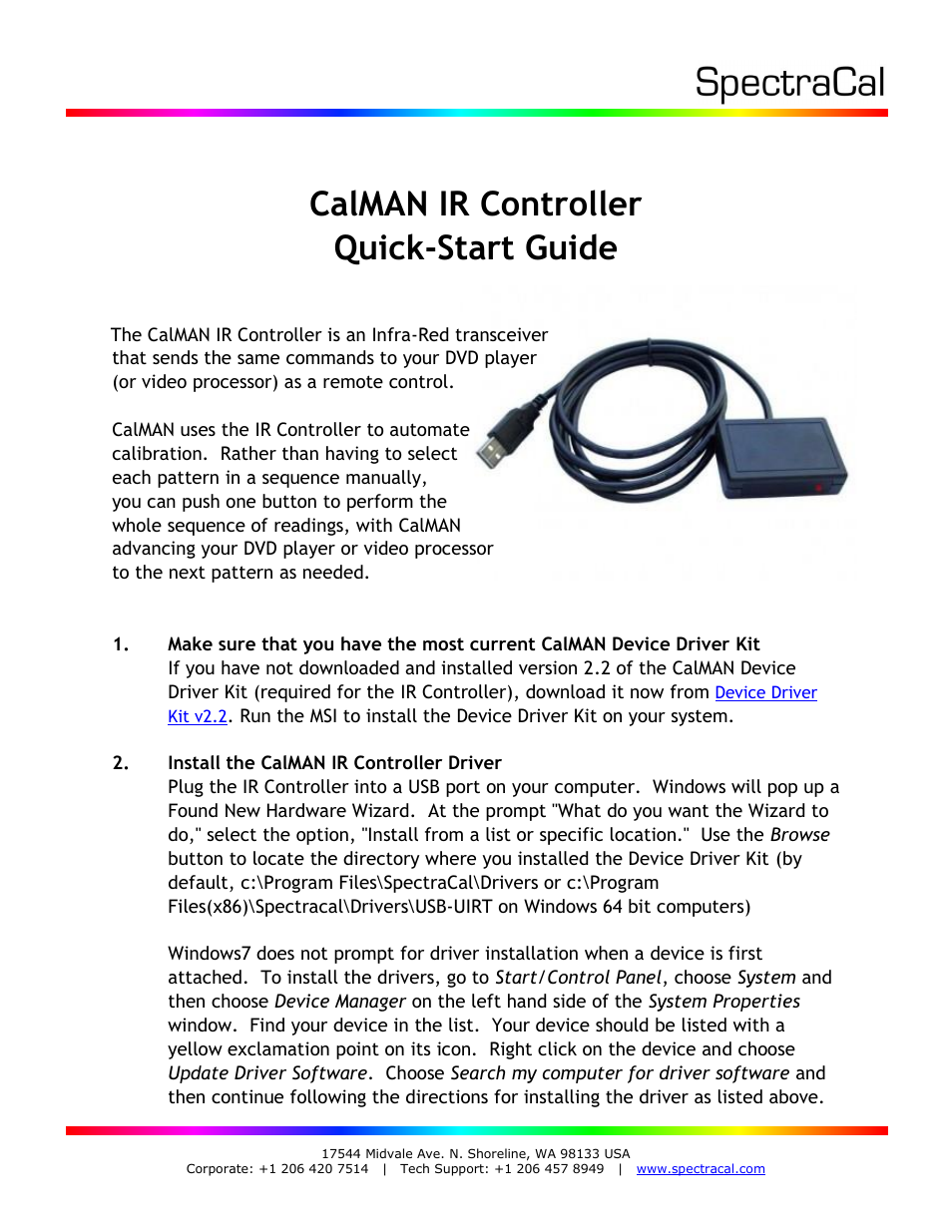 SpectraCal CalMAN IR Controller User Manual | 2 pages