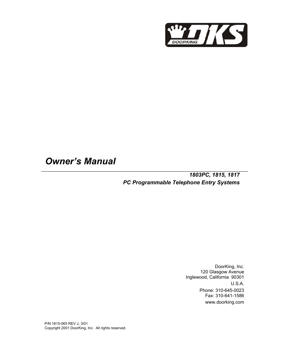 doorking 1817 page1 doorking 1817 user manual 67 pages also for 1815, 1803pc  at n-0.co