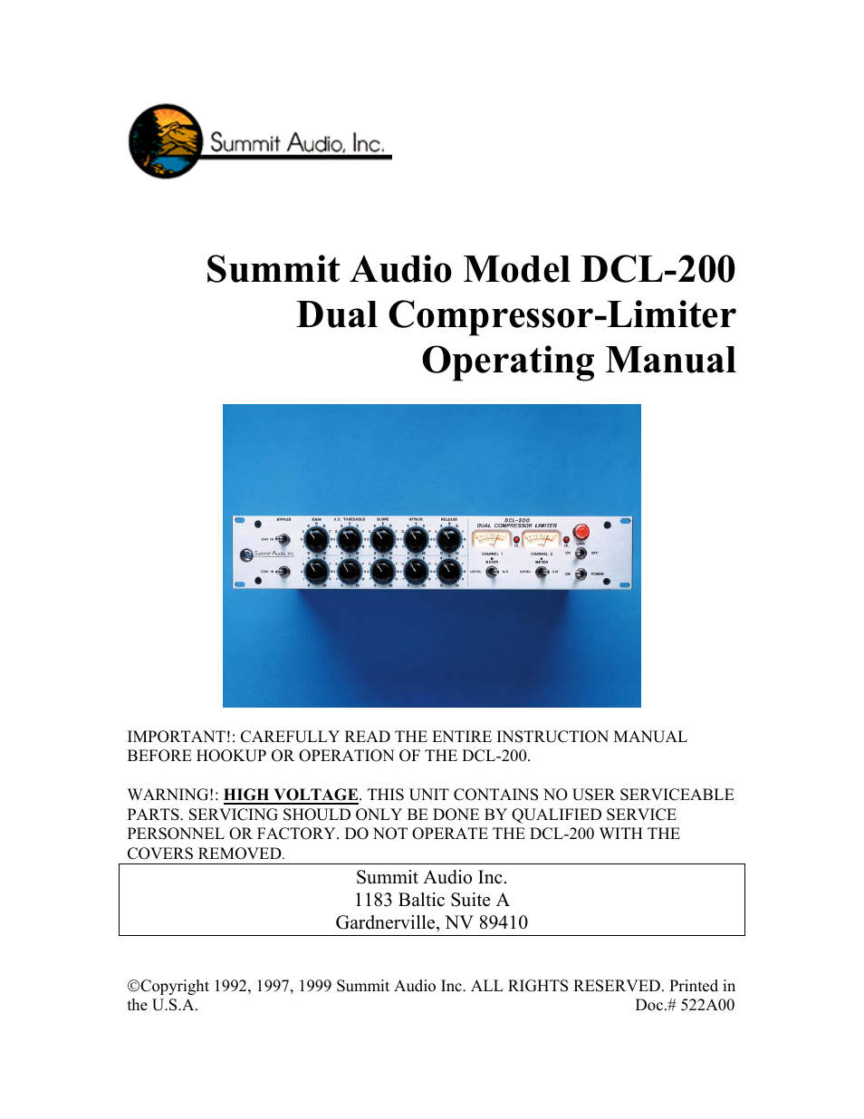 Summit Audio DCL-200 Dual Tube Compressor User Manual | 10 pages
