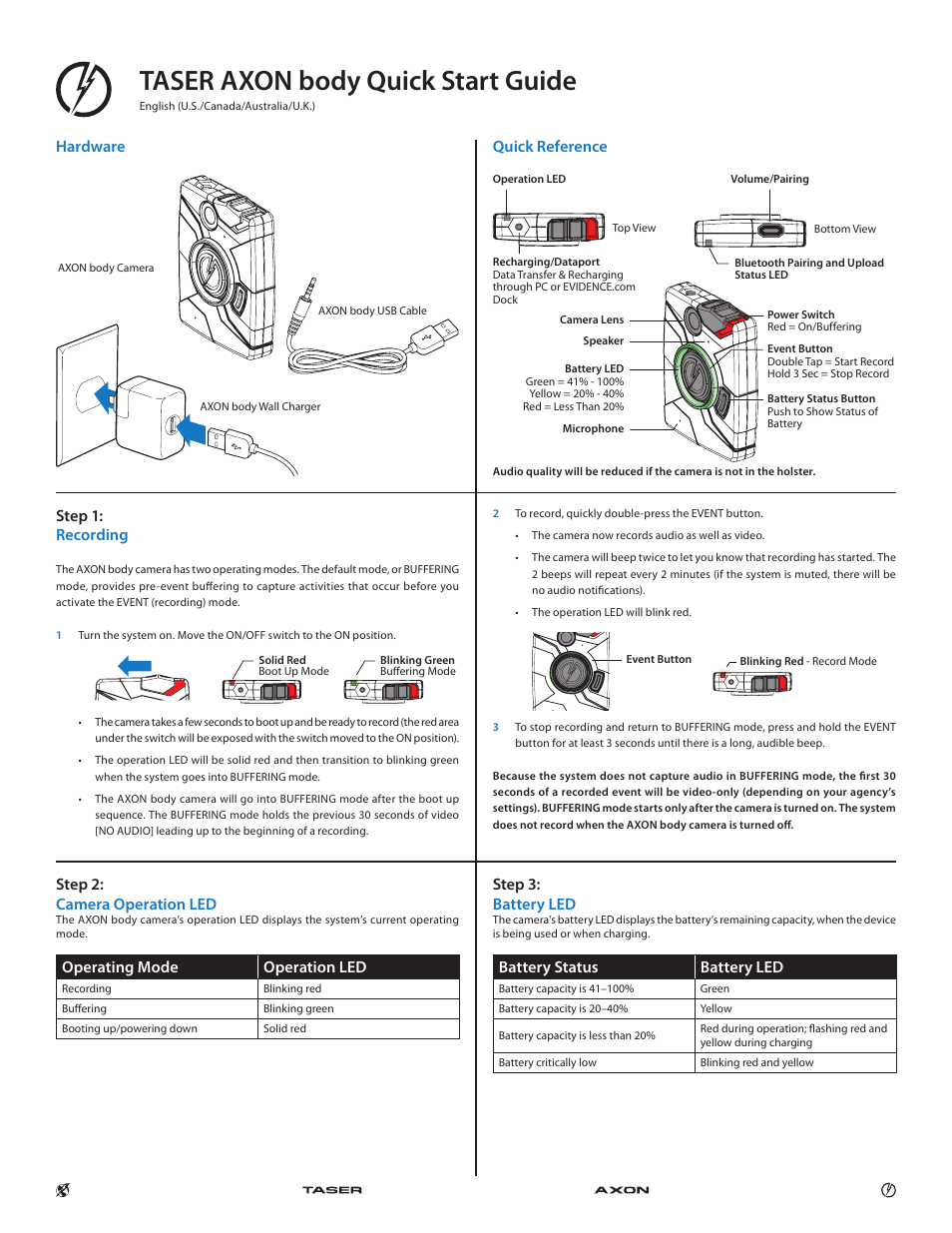 taser axon body user manual 2 pages