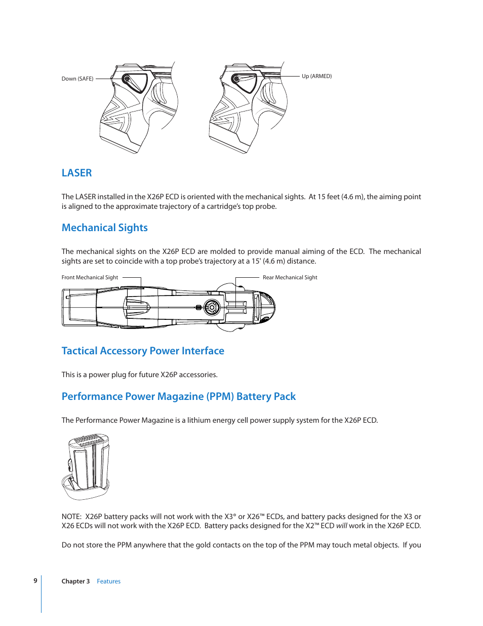 Lithium Battery Pack >> Laser, Mechanical sights, Tactical accessory power interface | Taser X26P User Manual | Page 9 / 34