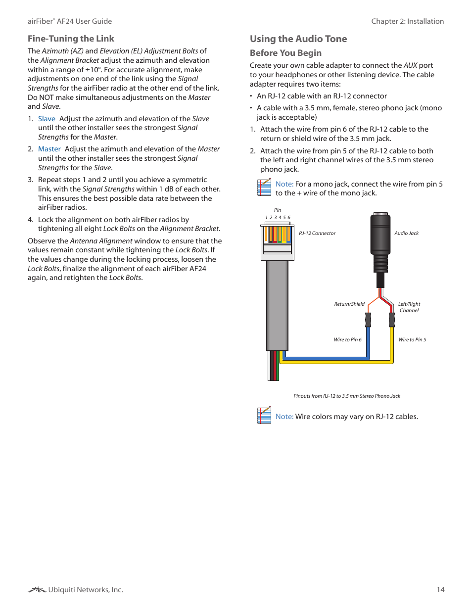 Ee Using The Audio Tone Fine Tuning Link Ubiquiti Wiring Diagram Networks Airfibe24 User Manual Page 17 50