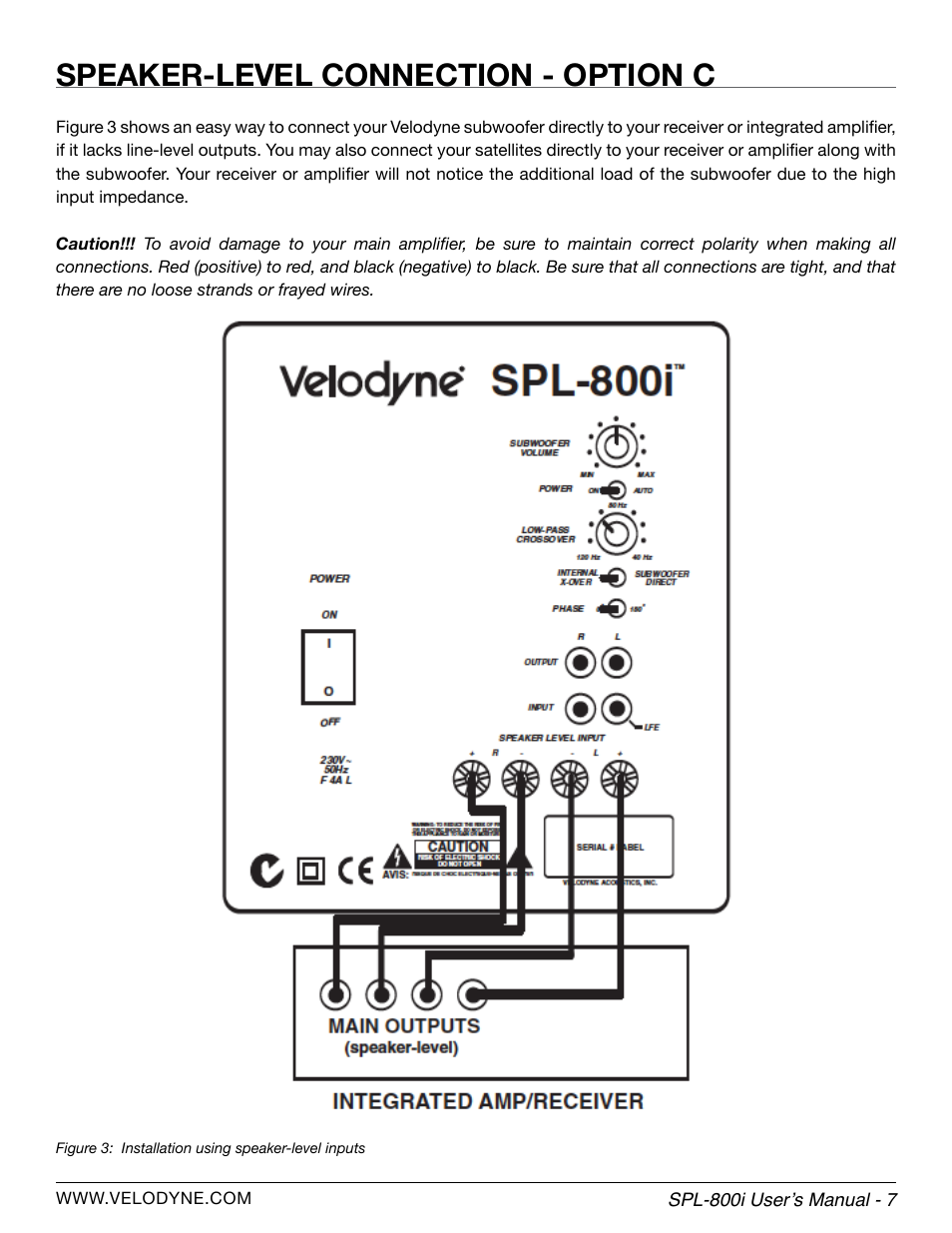 Velodyne Subwoofer Wiring Diagram Library Loudspeaker Building Guide Speaker Level Connection Option C Spl 800i User Manual Page