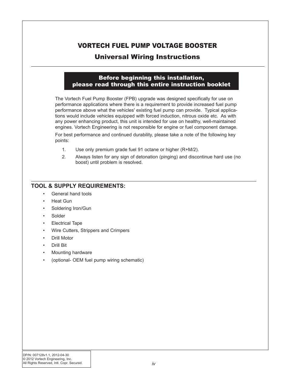 Vortech Maxflo Fuel Pump Booster (FPB) -