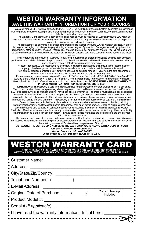 Weston warranty card weston warranty information save this weston warranty card weston warranty information save this warranty information for your records publicscrutiny Image collections