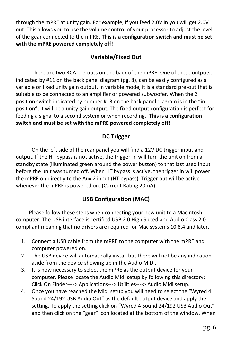 Wyred 4 Sound mPRE User Manual | Page 8 / 16