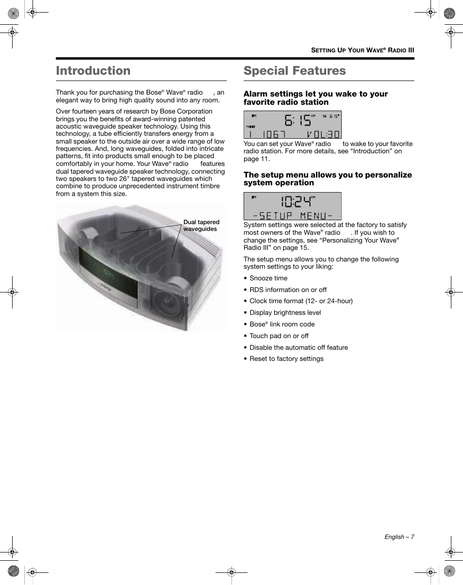 Introduction, Special features | Bose Wave Radio III User Manual