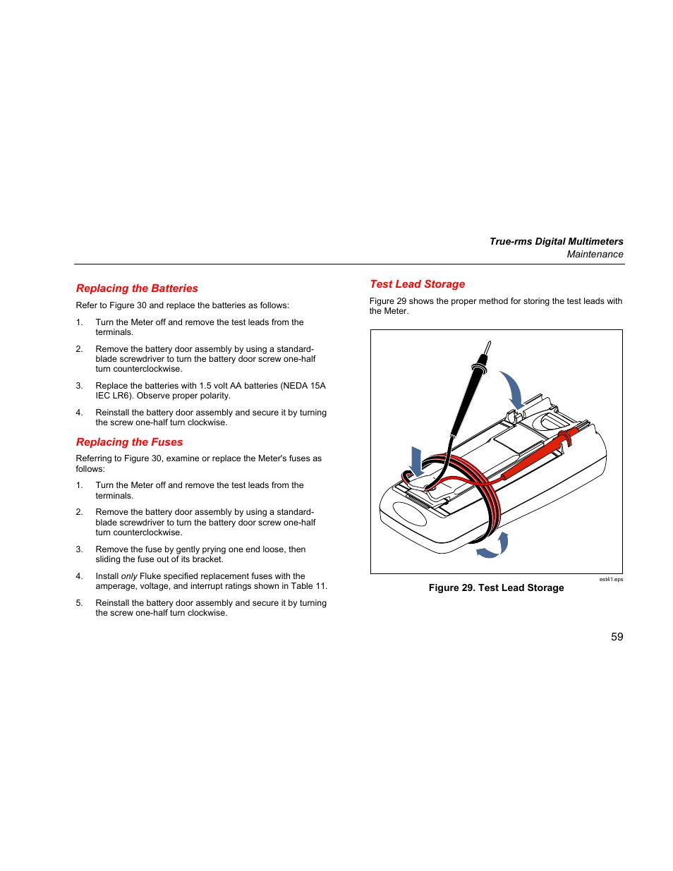 replacing the batteries replacing the fuses test lead storage rh manualsdir com Fluke Digital Multimeter Fluke Multimeter