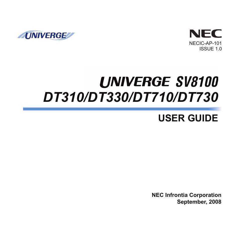 nec sv8100 user manual 69 pages also for dt730 dt710 dt330 dt310 rh manualsdir com nec sv8100 user manual nec sv8100 user guide