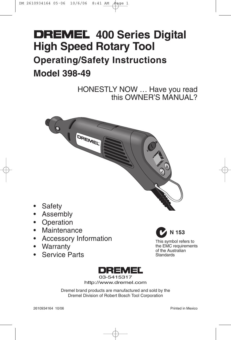 dremel 400 series digital 398 49 user manual 24 pages rh manualsdir com Dremel Multi Tool Dremel 395 Type 5 Manual
