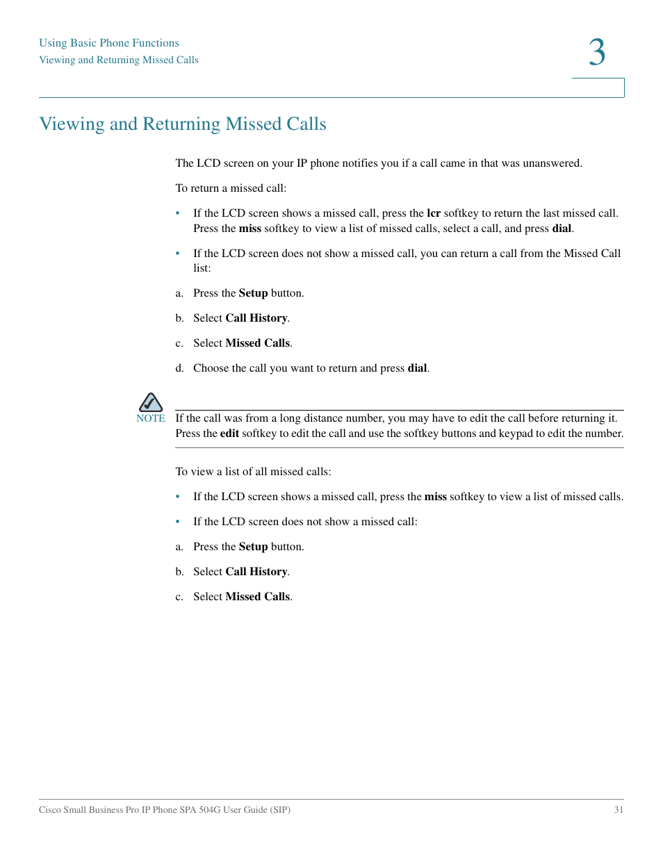 Viewing and returning missed calls | Cisco IP Phone SPA 504G